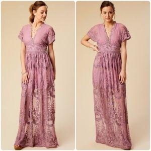 NEW ALTAR'D STATE purple lace mariska maxi dress